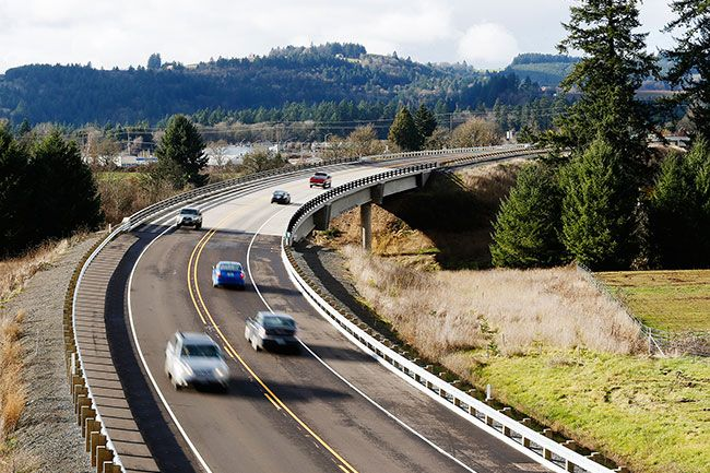 Rockne Roll/News-Register##Traffic on Phase 1 of the Newberg-Dundee Bypass near Dundee, pictured on the route's opening day, Saturday.
