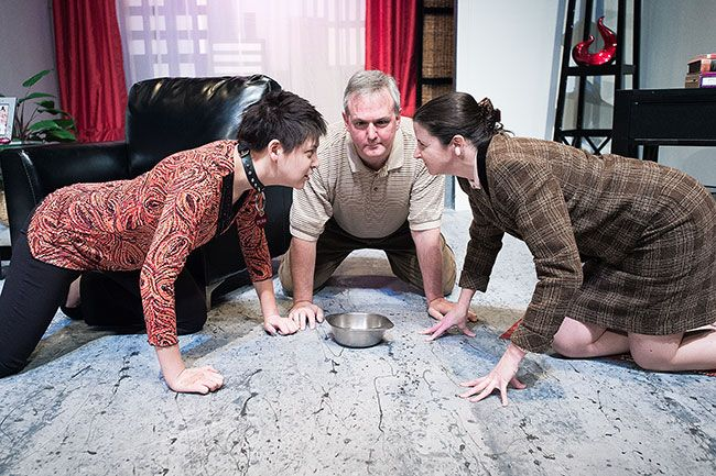 Marcus Larson/News-RegisterWith Greg in the middle, Sylvia and Greg's wife Kate (Julianna Gibbons) square off. The dog brings to the surface all the problems the couple has been having.