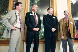 Rockne Roll / News-Register## City manager candidates visit McMinnville. From left, McMinnville candidates Ronald Foggin, Peter Troedsson, Dan Huff and Jeffrey Towery wait to speak at a meet-and-greet event held Wednesday, Jan. 11, in the McMinnville Grand Ballroom.