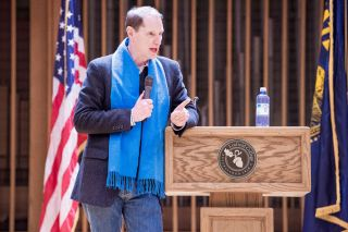 Marcus Larson / News-Register##Sen. Ron Wyden, D-Oregon, speaks to a crowd at Linfield College.