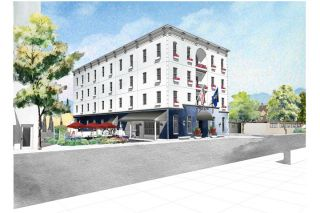 Submitted graphic##The new hotel will rise at Fourth and Ford streets.