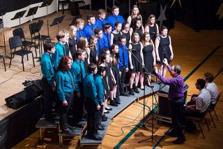 Marcus Larson/News-Register##Dana Libonati directs Sterling Jazz, one of several vocal groups that performed at Jazz Night. The evening also featured bands and individual singers and instrumentalists.