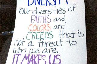 Submitted photo##Andrea Brown of McMinnville carried this sign in the Portland march.