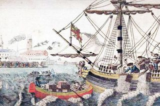 Image: Library of Congress##The Boston Tea Party as depicted in a circa 1789 engraving by W.D. Cooper.