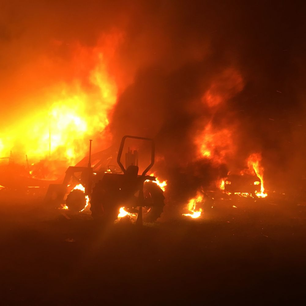 Submitted photo##Two manufactured homes and vehicles were destroyed early Wednesday morning in a two-alarm fire northeast of Amity.