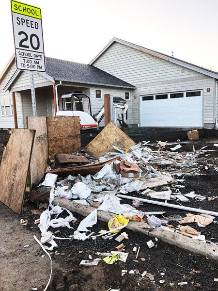 Submitted photo ## Debris scattered throughout a house under construction near Grandhaven Elementary School in McMinnville.