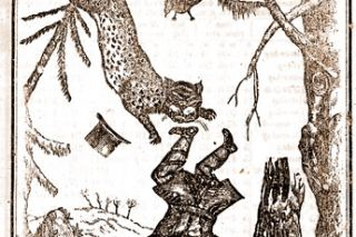 Image: NY Historical Society##This woodcut image from the 1837 edition of the Davy Crockett Almanac probably depicts the story of the time Davy and a panther found themselves on the same tree branch together, which is mentioned in the comments about the joint occupancy of Oregon with Great Britain.