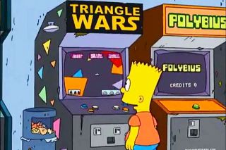 Image: FOX Network##A screenshot of Bart Simpson with a Polybius video game cabinet in an episode of The Simpsons that aired in September 2006.