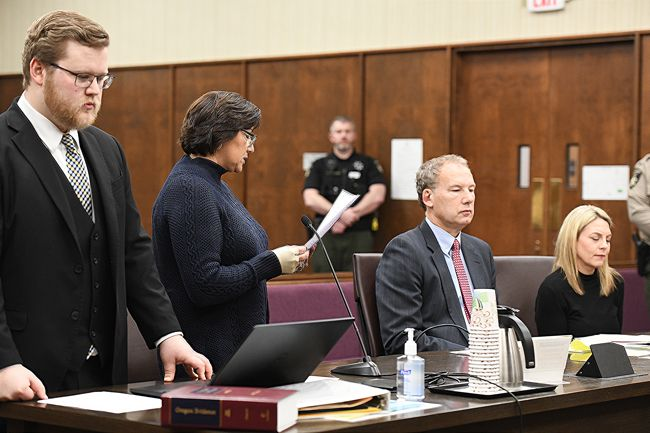 Rusty Rae/News-Register##Anna Marie Ruiz reads a statement on behalf of Meighan Cordie s young daughter  during a plea and sentencing hearing for Cordie s mother, Jennifer Weathers. Yamhill County Deputy District Attorney Benjamin Donner, left, listens.