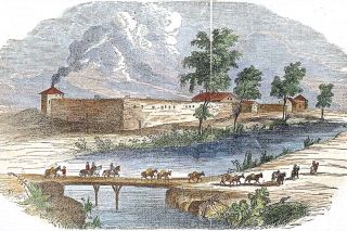 Image: F. Gleason/Wikimedia##An 1840s hand-tinted engraving of Sutter's Fort as it appeared in its heyday.