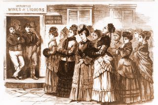 Image: Library of Congress ## This drawing, from an 1874 issue of Frank Leslie's Weekly, shows the Ohio women who were the Portland temperance workers' primary inspiration, singing and praying before a saloon. This scene, drawn by S.B. Morton, is set in Logan, Ohio.
