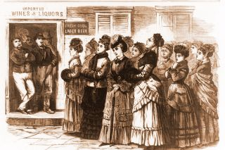 Image: Library of Congress ## This illustration, from Frank Leslie's publication, shows the Ohio ladies who were the Portland temperance workers' primary inspiration, singing and praying before a saloon in early 1874. This scene, sketched by S.B. Morton, is in Logan, Ohio.
