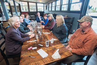 Marcus Larson/News-RegisterCarlton community leaders meeting at Barrel 47 Restaurant: from left to right, Carol Fredrick, Charan Cline, Kevin Martin, Kathie Oriet, Chad Olsen, Karen Wright, Ken Wright, Amber Horne and Scott Bernards.