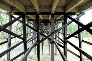 News-Register file photo##The underside of Three Mile Lane Bridge, pictured here in 2008. The bridge is scheduled for replacement in 2019.