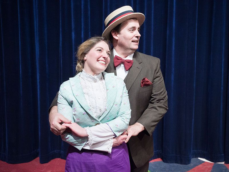 Marcus Larson / News-Register##Harold Hill (Adam Ewing) and Marion (Karen Kumley) sing   Til There was You  in Gallery Theater s production of  The Music Man.