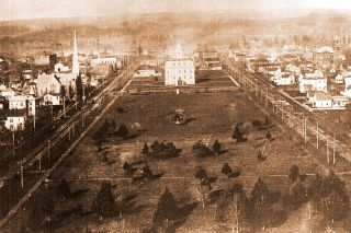 Image: Salem Public Library##Salem as it appeared looking west from the dome of the capitol building in the late 1800s.