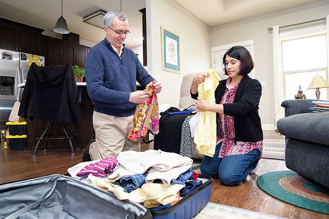 Marcus Larson/News-Register## Angel and Isabel Aguiar are already starting to pack in preparation for their three-year mission to Columbia for the Church of Jesus Christ of Latter Day Saints. He will be the mission president supervising young missionaries.
