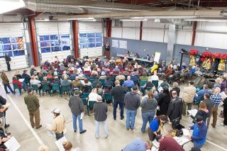 Rusty Rae/News-Register##Carlton residents met at the fire house in February to discuss the rerouting of Highway 47.