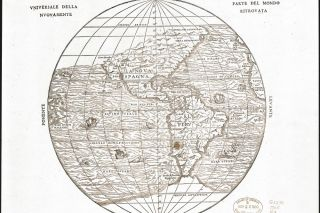 Image: Library of Congress##Cartographer Giacomo Gastaldi's 1565 map of the known world includes Quivira at the extreme northwest corner of the North American continent, at around 42 degrees north latitude.