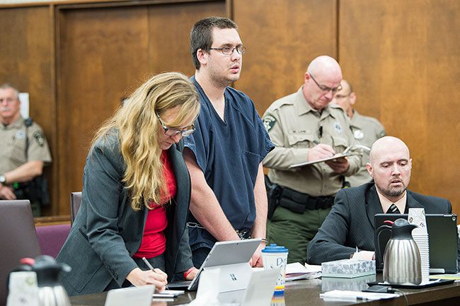 Marcus Larson/News-Register##Jeremy Hopper II listens as Judge Andrew Erwin sentences him to 12 years in prison Thursday morning in Yamhill County Circuit Court. Defense attorneys Amanda Marshall, left, and Brent Goodfellow follow along.