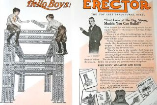 Image: St. Nicholas Advertisements##A 1915 advertisement for the Erector Set, featuring a portrait of A.C. Gilbert.