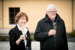 Submitted photo##Grace and Ken Evenstad sip wine from their winery, Domaine Serene, as they announce their gift to Linfield College s wine studies program.