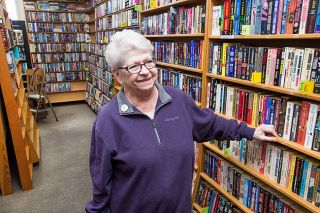 "Marcus Larson/News-Register##Paula Necas, who retired after 26 years at the Sheridan Sun, bought the town's bookstore in 2016, reopening it five months later under the name Main Street Books Revisited.  ""The community was without a bookstore, and I missed it a lot,"" she said. ""Books make me happy."""