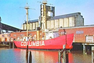 "## In this old postcard image, the Columbia (Lightship LV-88) is shown dockside after it was brought to Seattle to serve as a museum ship, in the early 1960s. This was the lightship whose crew claimed to have seen ""Colossal Claude"" in 1934. No. 88 went into service in 1909 and stayed there until 1939, when it was replaced with Columbia Lightship LV-93."