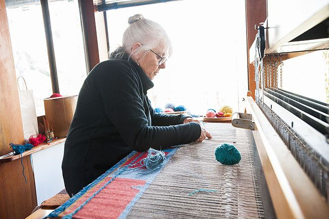 Submitted photoMonica Setziol-Phillips weaves a blanket for a new art piece in an addition to the family's cabin that serves as her studio. Below is one of her finished works.