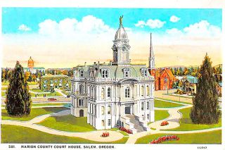 ##A postcard featuring the Marion County Courthouse as it appeared about 20 years after the trials of Mattie Allison and Wilf Saunders were held in it.