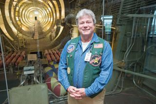 Marcus Larson/News-Register##Jack Higginbotham, a nuclear engineering professor at Oregon State University, stands inside the Spruce Goose — a marvel of engineering, he said. He gives tours of the Goose on Fridays, when he's volunteering as a docent at the Evergreen Air & Space Museums.