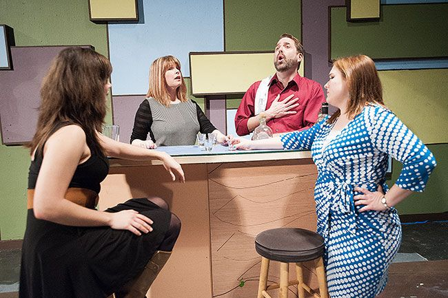 "Marcus Larson/News-RegisterCharacters in ""I Love You Because,"" from left, Marcy (Rebekah Wagner), NYC Woman (Julia Sargent), NYC Man (Lance Nuttman), and Diana (Alice Darnton) enjoy drinks while performing a musical number."
