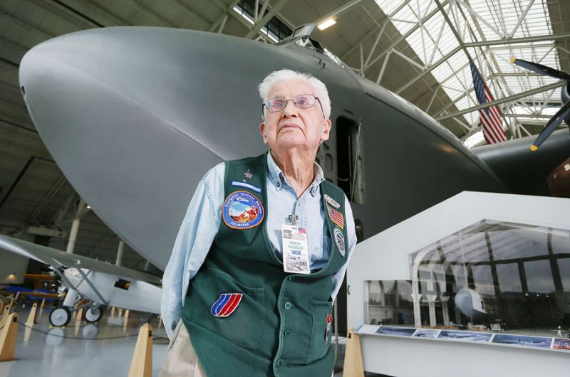 Rockne Roll/News-Register##Evergreen Aviation Museum docent Dick Wood spends Thursdays telling visitors about the Spruce Goose. He's been volunteering since the Goose arrived in McMinnville in pieces in 1993.