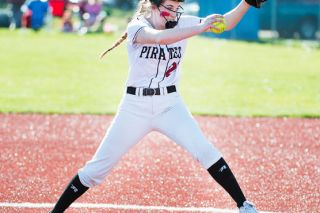 Marcus Larson/News-Register##Dayton junior Haley Couch threw an 88-pitch complete game, striking out nine, in the Pirates' 8-1 victory over Amity Friday evening at Jim Connelly Field.