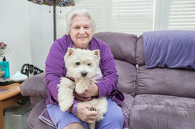 Marcus Larson/News-Register##Longtime nurse Melva Proctor will have more time to spend with Finella, her West Highland terrier, and other animals now that she's retired. She also plans to do some quilting.