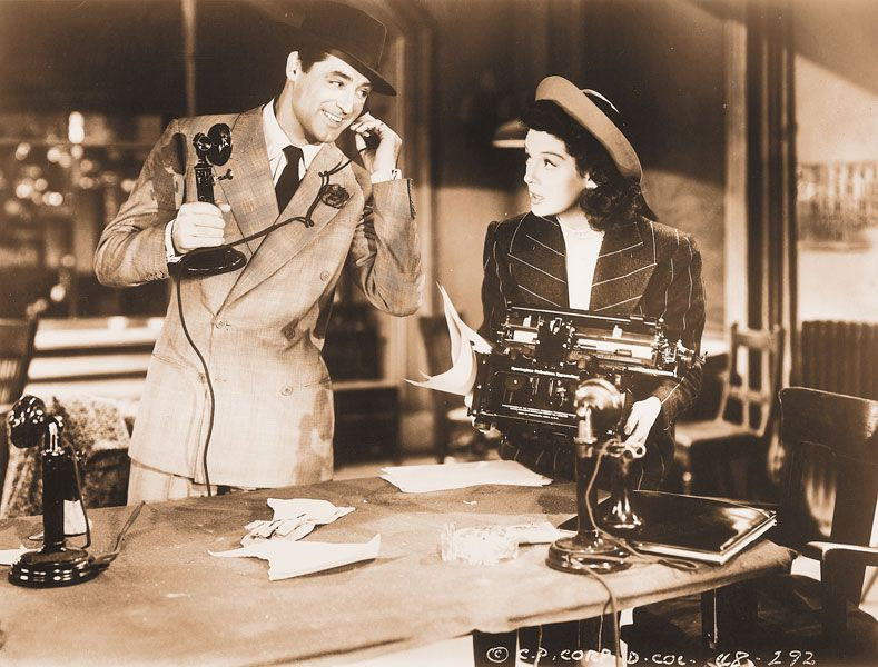 "Public domain##Scene from ""His Girl Friday"" (1940), based on the play ""The Front Page"" (1931), written by reporters Ben Hecht and Charles MacArthur."