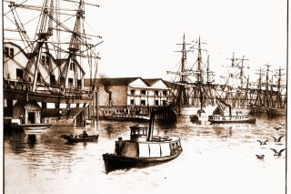 Image: UO Libraries ## A view of grain ships at the docks in Albina, on the east side of the river at Portland, as seen in an 1887 issue of The West Shore magazine.
