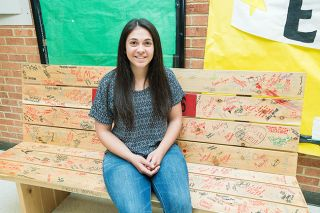 Marcus Larson/News-Register##McMinnville High School student body president Maria Martinez, seated on the 2016 senior bench, calls the leadership role challenging but rewarding.