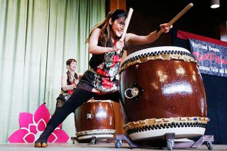 Rockne Roll/News-Register##Shoko Oba of Portland's Takohachi performs during the annual Camellia Festival held Saturday at the Chehalem Cultural Center in Newberg.