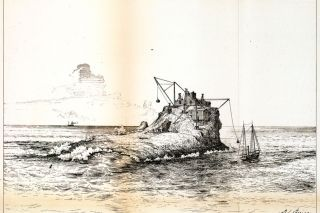 Image: Library of Congress##A drawing of the Tillamook Rock Lighthouse from the Annual Report of the U.S. Lighthouse Board in 1881, just after the structure had been built.