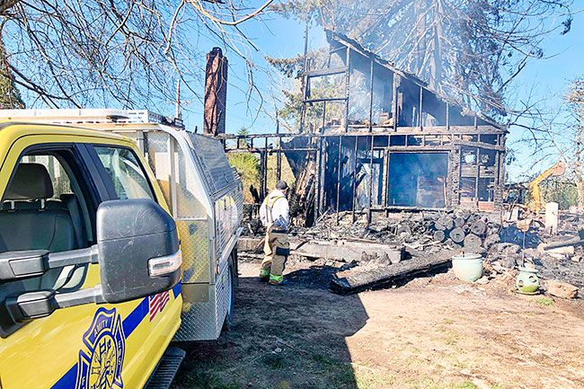Photo courtesy Amity Fire District##A rural Amity residence was destroyed Wednesday night by a two-alarm fire. Three dogs perished in the blaze.
