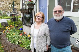 Marcus Larson/News-Register##McMinnville homeowners Linda and Craig Saunders enjoy creating a bright, colorful landscape at their home at 545 N.W. 10th St. The couple's efforts earned them April Yard of the Month honors from the McMinnville Garden Club.