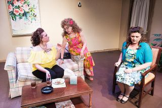 Marcus Larson/News-Register##Sissy (Meridith Symons), center, talks with her niece, LaVonda (Kelly Janssen), about funeral arrangements for Peggy, while Peggy's other daughter, Latrelle (Kari Trickey), stews about the embarrassing circumstances of her mother's death.