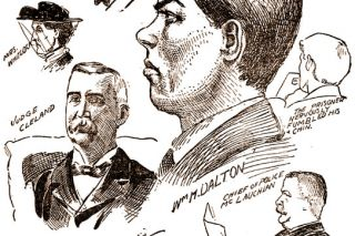 Image: UO Libraries##Defendant William Dalton as he appeared in court, along with some of the witnesses who helped convict him, drawn by the Morning Oregonian's courtroom sketch artist for the Dec. 10, 1901, issue.