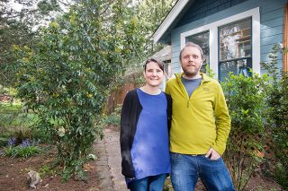 Marcus Larson/News-Register##Kate Pabst and Jonathan Taylor enjoy learning about their new property and the plants growing there. They received the McMinnville Garden Club's Yard of the Month award for April.