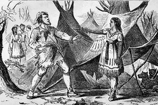 "Project Gutenberg##An illustration from ""Eleven Years in the Rocky Mountains,"" Frances Fuller Victor's biography of mountain man Joe Meek. This scene depicts Umentecken, Meek's Indian wife, holding a bullying trapper named O'Fallen at gunpoint. After learning