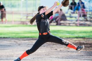 Marcus Larson/News-Register##Yamhill-Carlton junior Abbey Berhorst threw a no-hitter, striking out seven and walking none, in the Tigers' 10-0, five-inning victory over Cascade Tuesday at Yamhill-Carlton High School.
