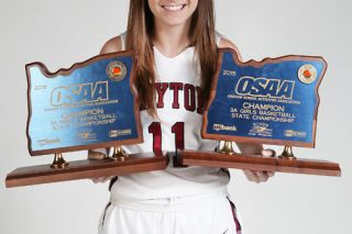 Rockne Roll/News-Register##Dayton sophomore Shawnie Spink, the reigning two-time OSAA Class 3A state player of the year, has led the Pirates' girls basketball team to two of its three state championships in school history.