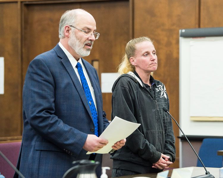 Marcus Larson/News-Register##Amber Rocco, accompanied by McMinnville attorney Mark Lawrence, at her plea and sentencing hearing Tuesday afternoon in Yamhill County Circuit Court.