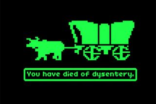 The dreaded final screen of the Image: MECC##Oregon Trail videogame as rendered on an early-1980s-vintage Apple IIe computer.